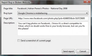 The Chrome Facebook Bug report